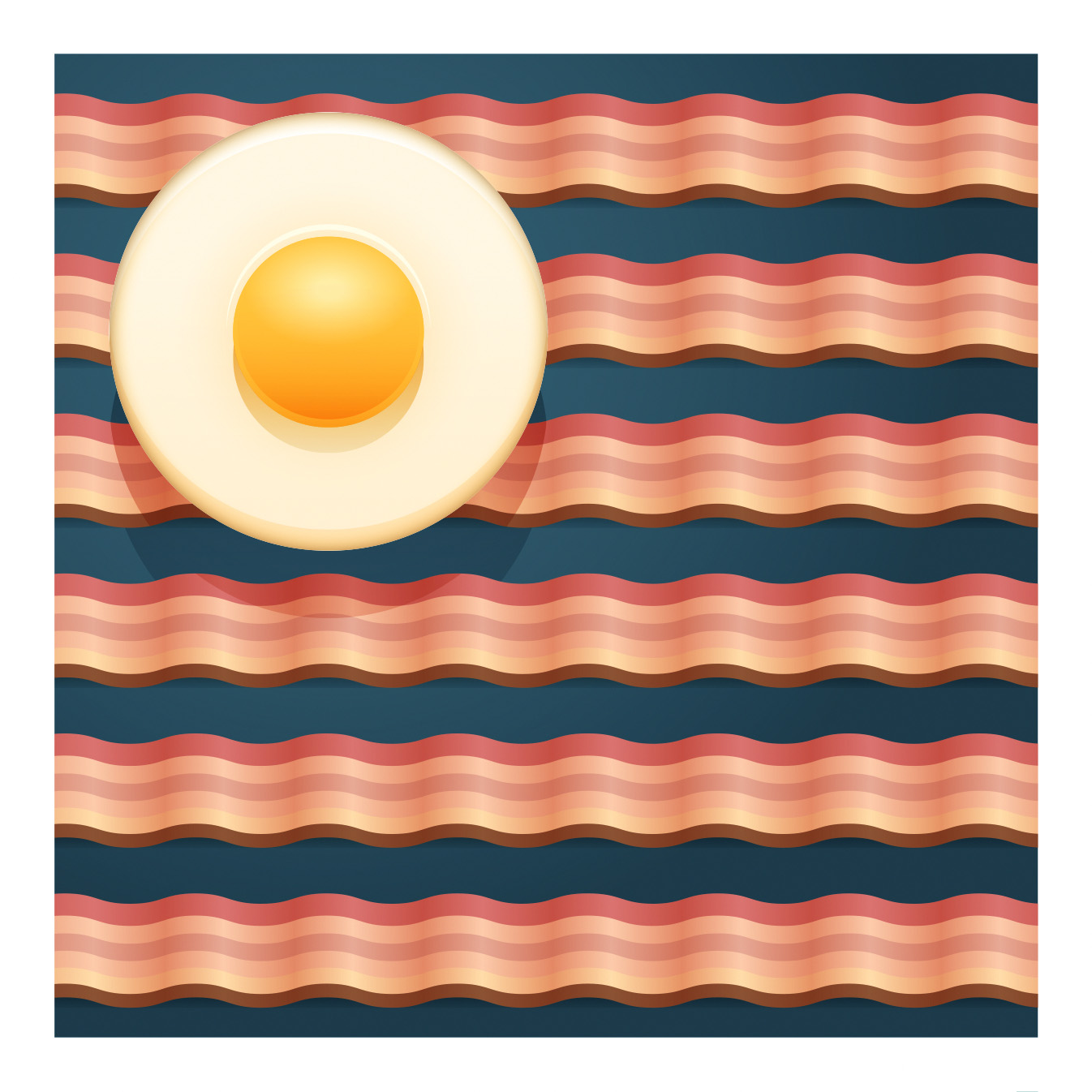 breakfast usa flag with bacon and egg